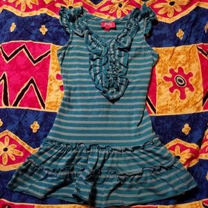 Pinky Girls 3T Blue Striped Dress